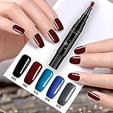 One Step Vernis à ongles gel Pen, sans base top coat besoin, Saviland 3en 1Soak Off UV LED Vernis à ongles nail art Kit