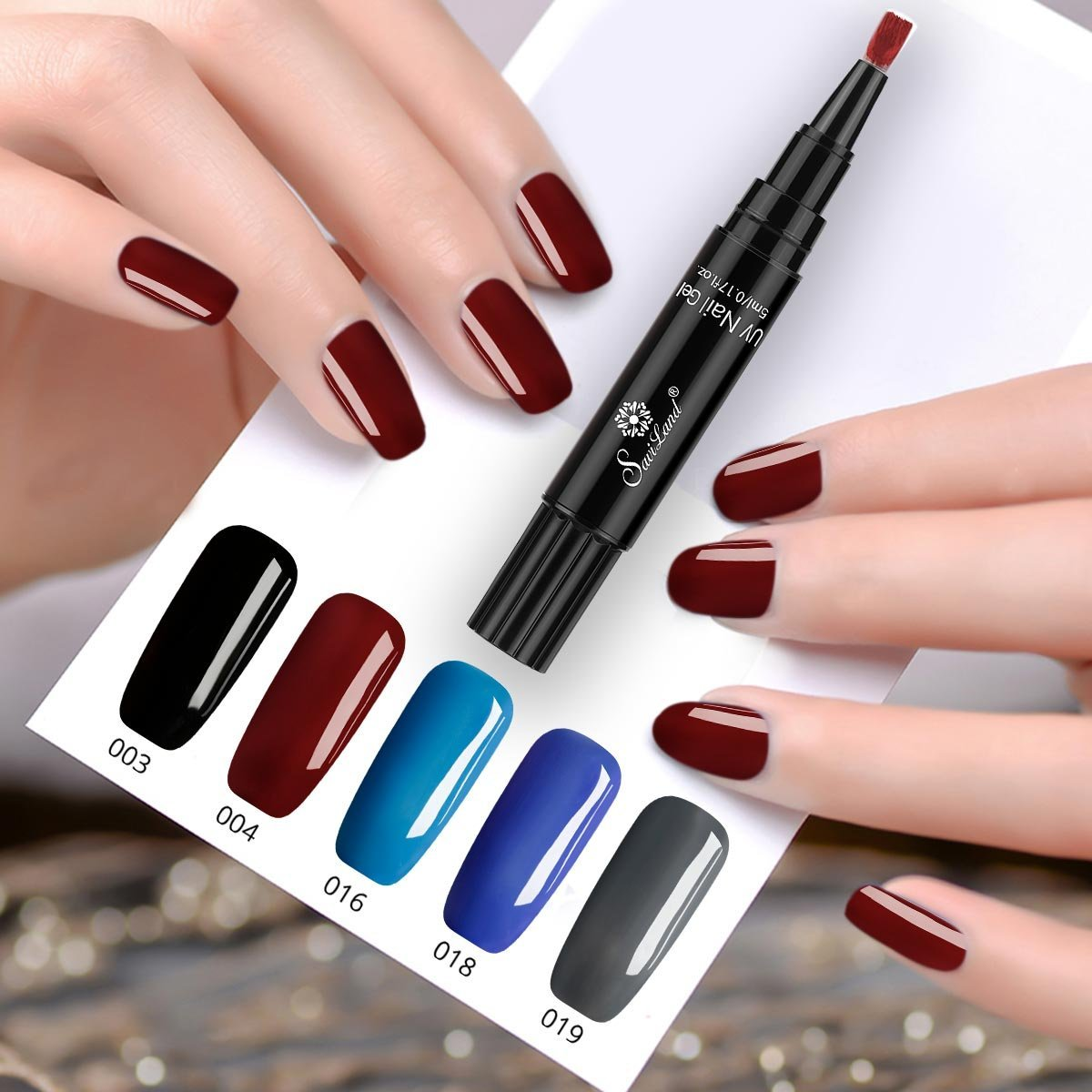 c2dde57496 One Step Gel Nail Polish Pen, No Base Top Coat Need, Saviland 3 in 1 Soak  Off UV LED Nail Varnish Nail Art Kit (Black blue grey red): Amazon.co.uk:  Beauty