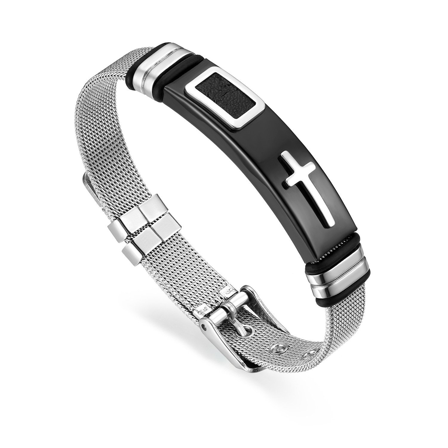 Cupimatch Men Stainless Steel Cross Bracelet Bangle, The Honor of Knight Mesh Wristband Chain 21CM Adjustable CU-MI-101-UK