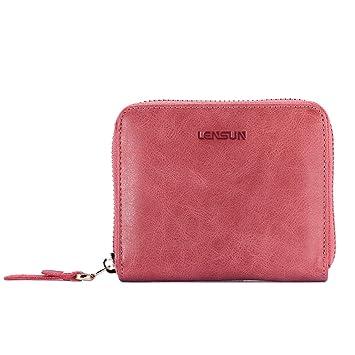 lensun Cartera Monedero Billetera de Cuero/Piel Original Tarjetas para Mujer, Sandía Roja, (QB-NL-WN)