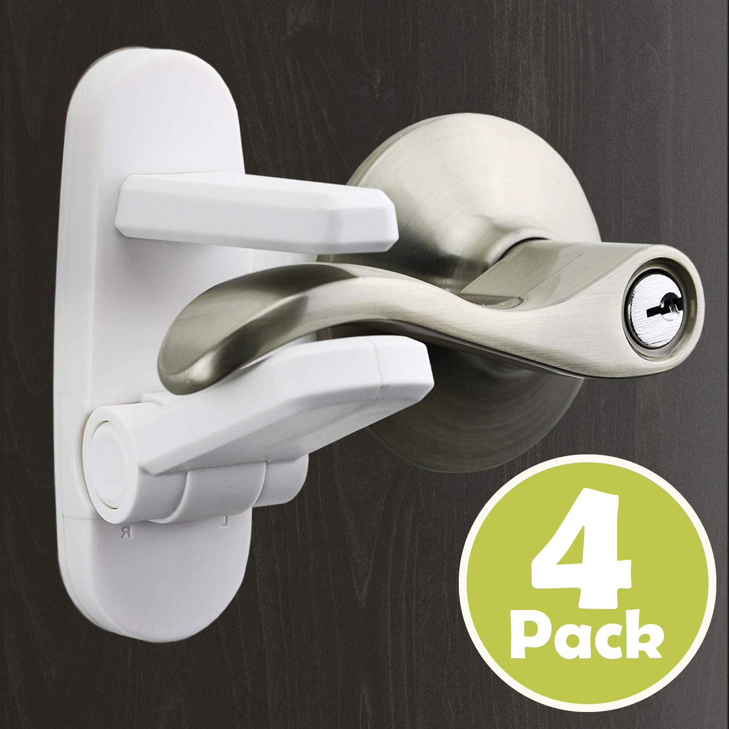 Outsmart Childproof Door Lever Lock[4 Pack] - Child Safety Baby Proofing Door Handle Lock for Kids, Durable ABS Made with 3M Adhesive, Easy One Hand Operation & Tool Free Installation.