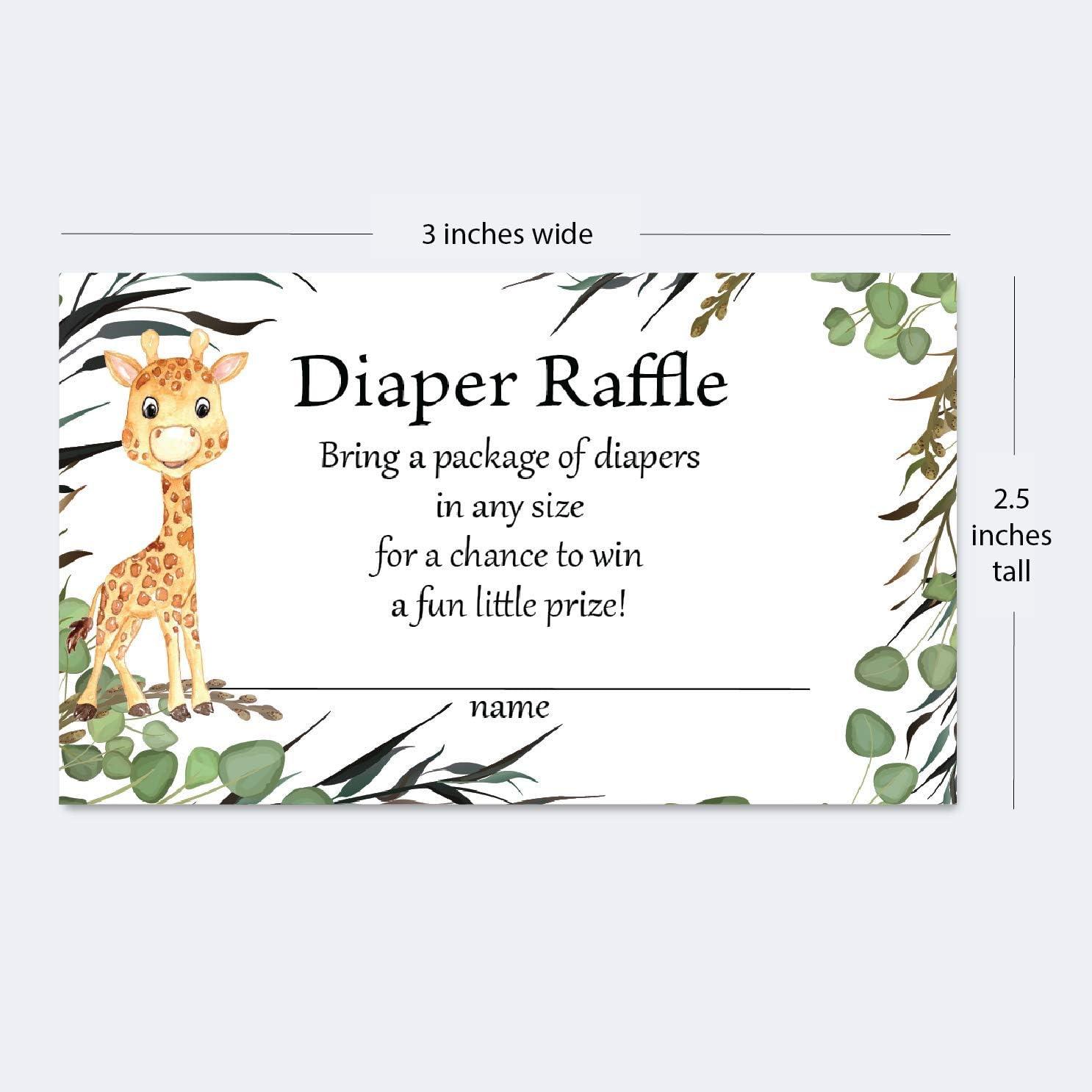 Diaper Raffle Cards Covid Shower Template Safari Diaper Raffle Sign Masked Animals Diaper Raffle Cards WLP-MAS 3837 TEMPLETT