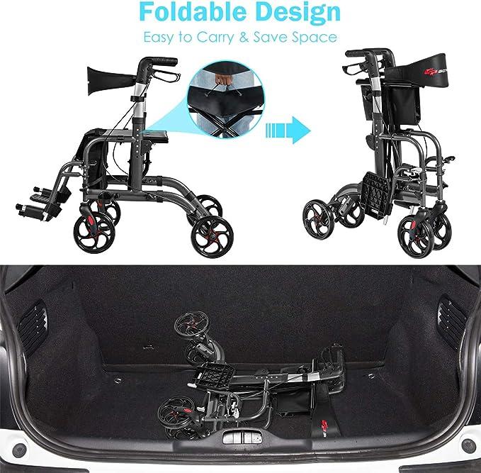 Amazon.com: GOPLUS 2 en 1 Andador plegable con ruedas, 4 ...