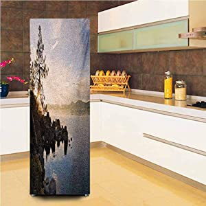 "3D Door Fridge DIY Stickers,Lake Tahoe at Sunset with Clear Sky and Single Pine Tree Rest Peaceful Weekend Photo Vinyl Door Cover Refrigerator Stickers,24x59"",for Refrigerator,Blue Grey"