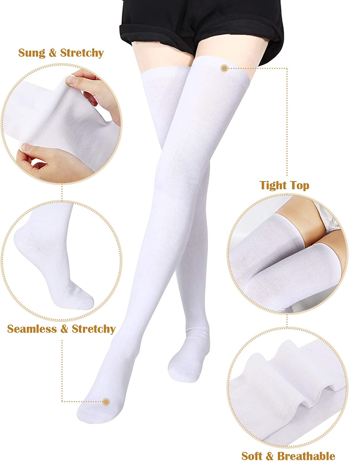 Extra Long Socks Thigh High Cotton Socks Extra Long Boot Stockings for Girls Women