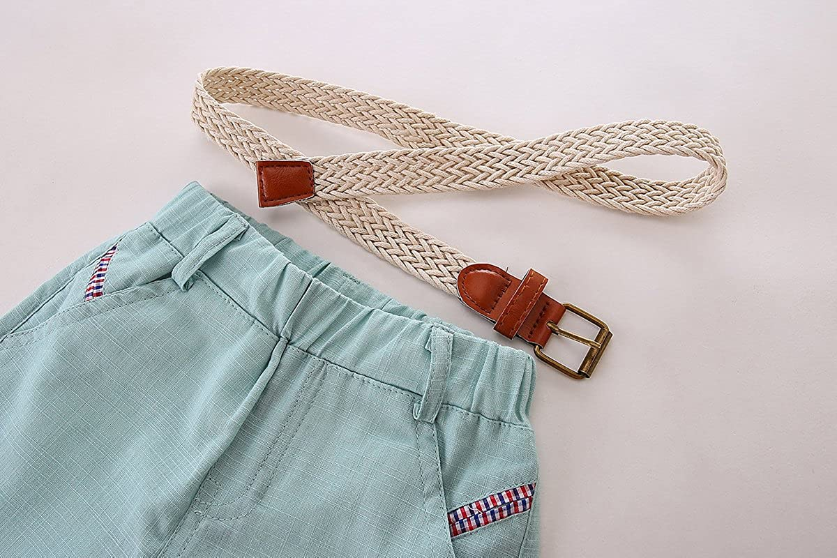 Mud Kingdom Baby Boy Linen Shorts with Belt 24 Months Light Blue