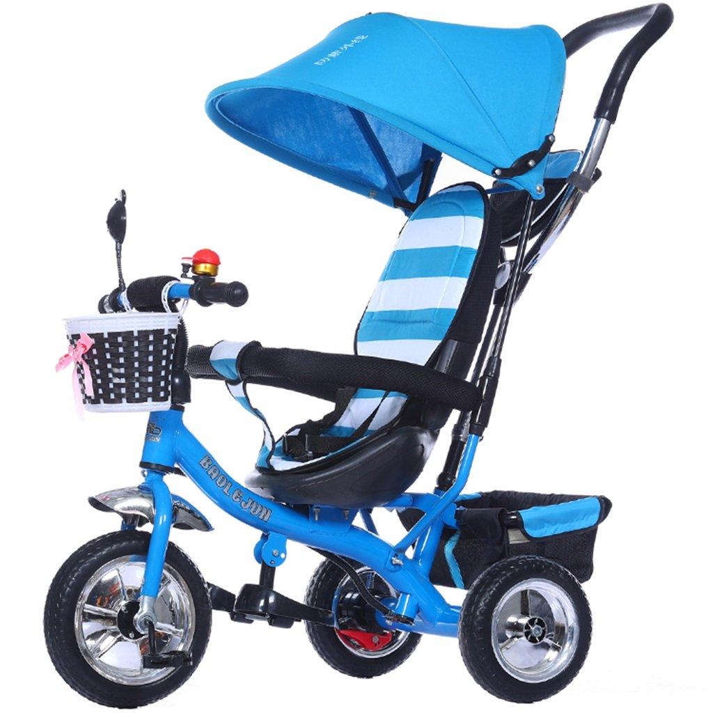 KANGR-子ども用自転車 多機能4-in-1チャイルド三輪車キッドトロリープッシュハンドルステーラー自転車折り畳み式抗UV日よけ| 1-3-6歳の少年少女と赤ちゃんのおもちゃ|ブレーキ付3輪バイク|ブルー ( 色 : A型 がた ) B07BTW6G8C A型 がた A型 がた