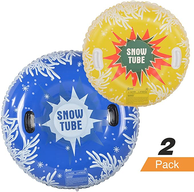 HIWENA Snow Tubes, Inflatable Snow Tubes for Family with 2 Higher Handles, Heavy Duty Snow Sled for Adults, and Snow Toy for Kids, 48 and 37 Inch Snowflake Snow Tubes (2 Pack) best sleds