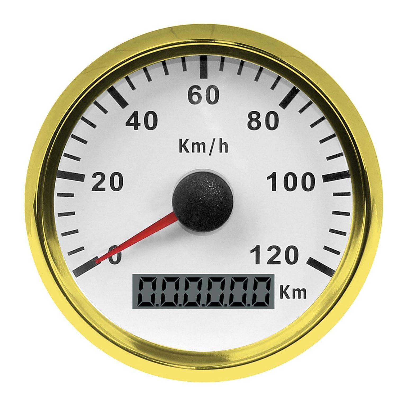 スピードメーター タコメーター 走行距離計 バイク オートバイ用 GPSポインタメーター 0-120km / h 12V / 24V自動車用 ステンレス 防水ゲージ   B07GKQLBRC