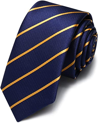 HXCMAN 5cm Azul Dorado rayas corbata estrecho diseño clásico 100 ...