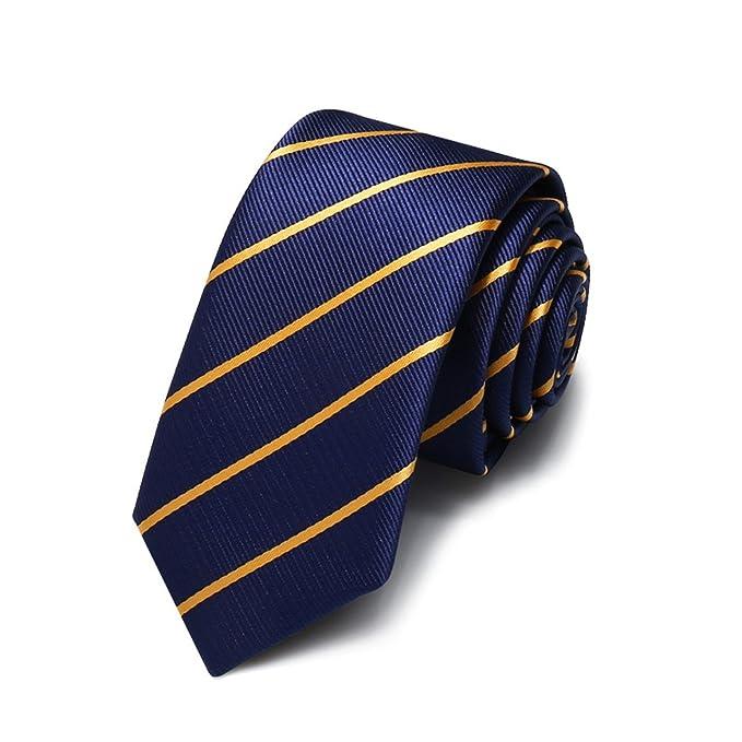 HXCMAN 5cm Azul Dorado rayas corbata estrecho diseño clásico 100% seda corbata hombres partido de
