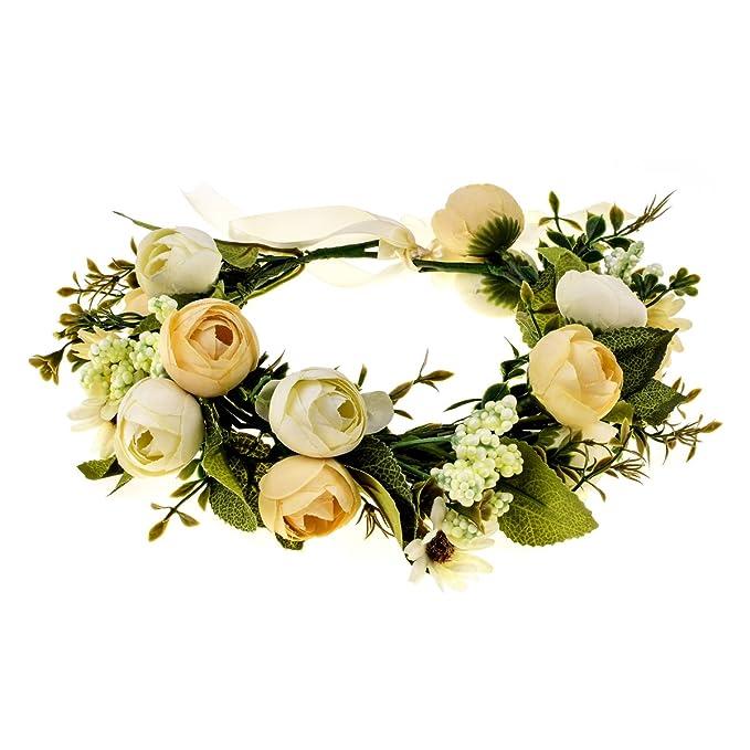 DreamLily Maternity Floral Headband Violet Camellia Bridal Rustic Flower  Crown Girls Wedding Headpiece NC08 (Ivory 79add45b8e5