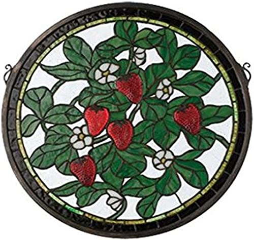 Meyda Tiffany 20728 Strawberry Medallion Stained Glass Window, 17 Width x 17 Height