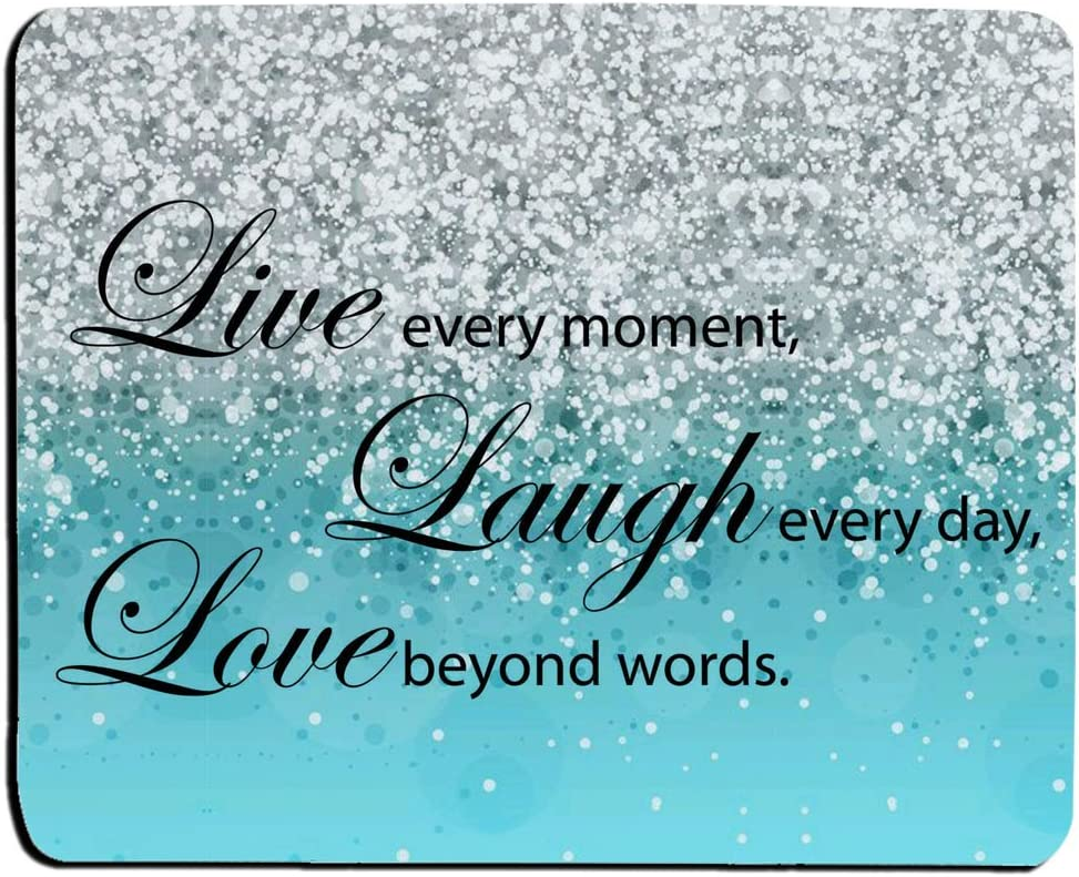 Glitter Mouse Pad Pink Sparkle Quote Live Love Laugh Customized Rectangle Non-Slip Rubber Mouse pads Gaming Mouse Pad