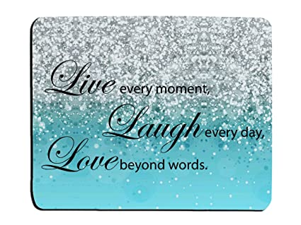Amazoncom Glitter Mouse Pad Blue Sparkle Quote Live Love Laugh