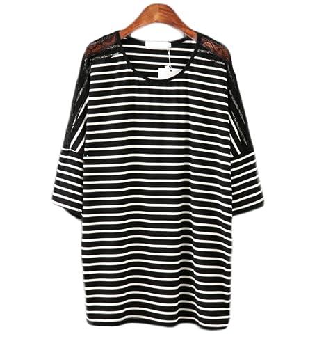Rayas Blancas Y Negras De Costura Del Cordón De La Camiseta De Mujeres De Gran Tamaño De La Blusa De...