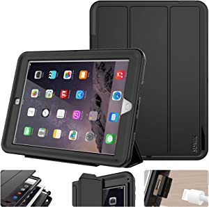 SEYMAC Stock for iPad 5th/6th Generation Case,New iPad 9.7 Inch 2017/2018 Case Smart Magnetic Auto Sleep Cover Hybrid Leather with Stand Feature for Apple New iPad 2017/2018 Release Model(Black/Black)