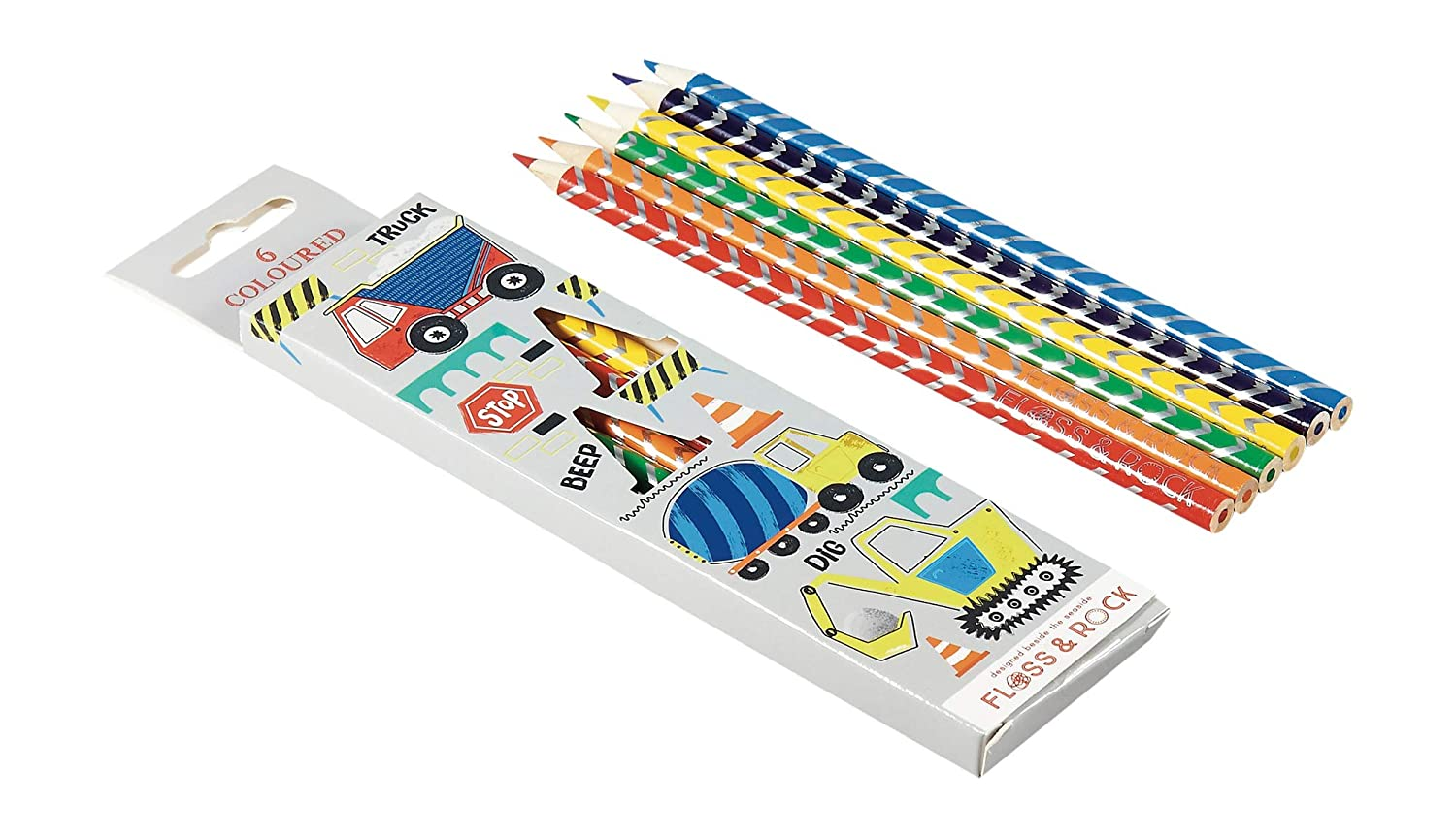 Floss /& Rock Construction Trucks 6 Piece Assorted Colored Pencil Pack in Decorative Box