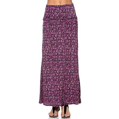 ba990032b5941 2LUV Women s Mix Print Knit Floor Length Maxi Skirt Purple   Black S