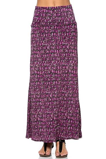 b863fa5cd8 2LUV Women s Mix Print Knit Floor Length Maxi Skirt Purple   Black S ...