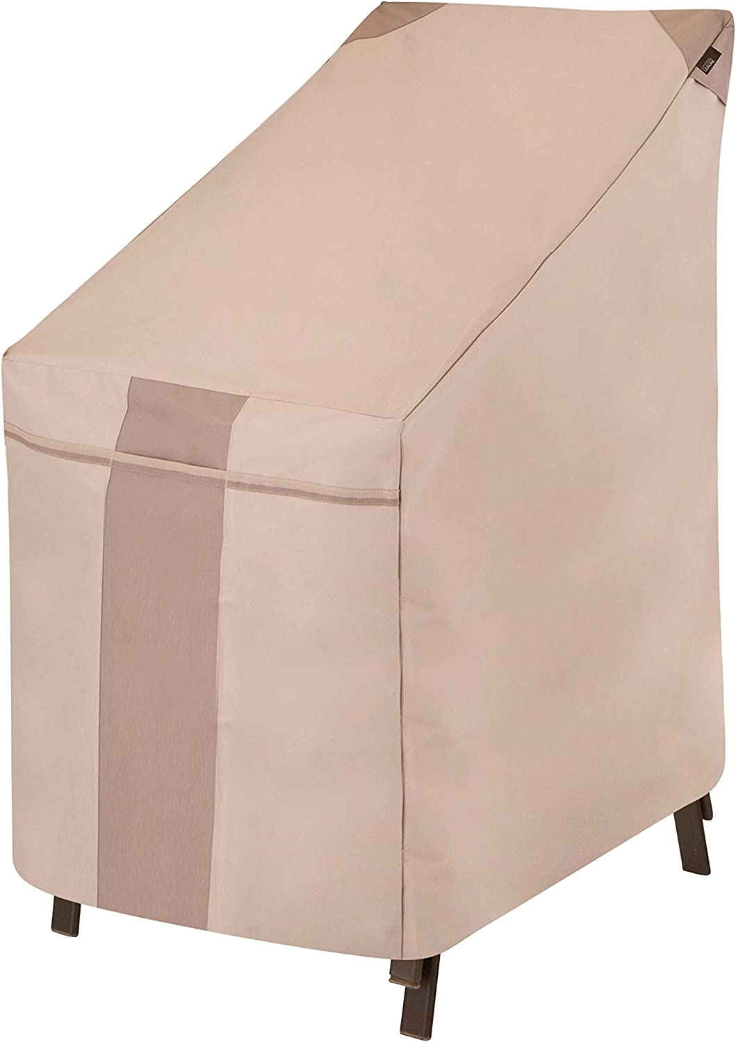 Modern Leisure 2900 Monterey Stacking Patio Chair Cover (25.5 L x 35.5 D x 45 H inches) Water-Resistant, Khaki/Fossil