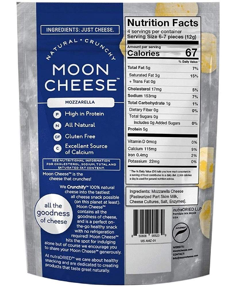 Moon Cheese, Pack of Twelve, Assortment (Cheddar, Gouda, Pepperjack, Mozzarella), 100% Cheese and Gluten Free, 2 OZ Bags by Moon Cheese (Image #5)