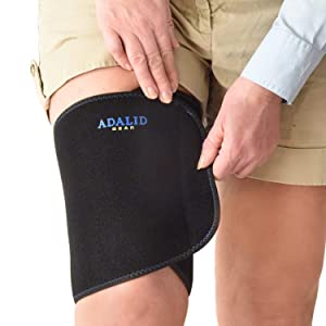Thigh Brace Wrap with Ice Gel Pack for Hot and Cold Therapy: Great for Compression and Pain Relief on Hamstring Strain, Quad Injury, Groin Support, Soreness etc. (Flexible, Reusable and Multi-Purpose)