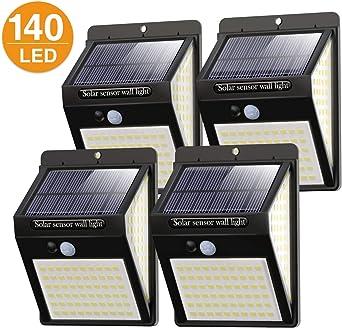 Litogo Luz Solar Exterior 140 LED【4 Pack / 3 Modos】con Sensor de Movimiento, Luces LED Solares Exteriores 270º lluminación Focos Solares Exterior Impermeable Aplique Lampara Solar para Exterior Jardin: Amazon.es: Iluminación