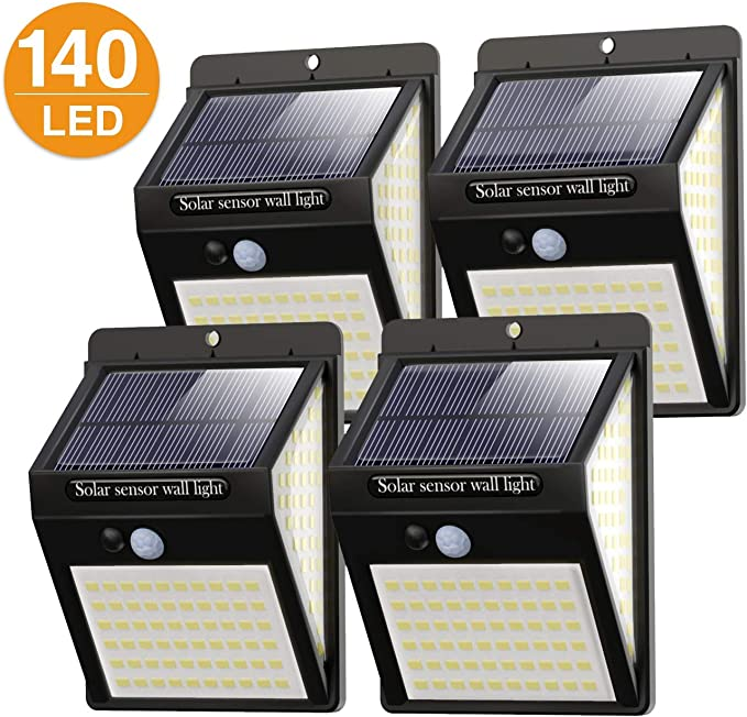Litogo Luz Solar Exterior 140 LED【4 Pack / 3 Modos】con Sensor de ...