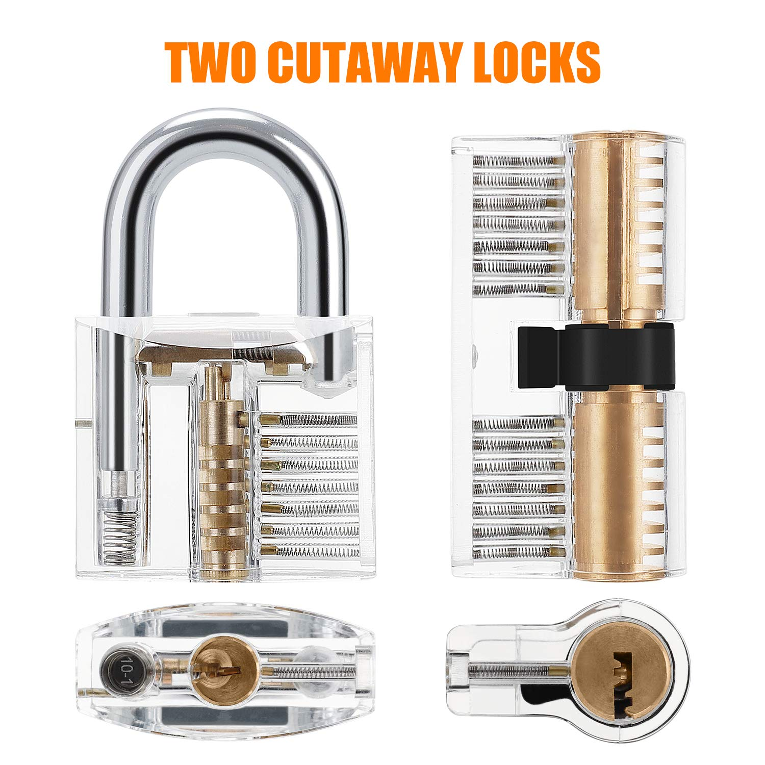 Kuject 2-in-1 Lock Pick Set, Lock Picking Training Set for Beginners, Include Transparent Cutaway Pin Tumbler Practice Padlock, Hook Pick, Dimple Lock, Dimple Pick, Tension Wrench