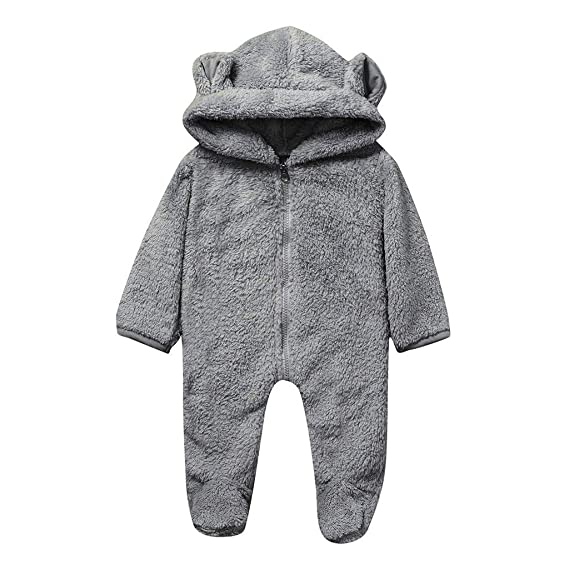 Newborn Baby Boy Girl Winter Fleece Jumpsuit Hooded Romper Warm Coat Outwear US