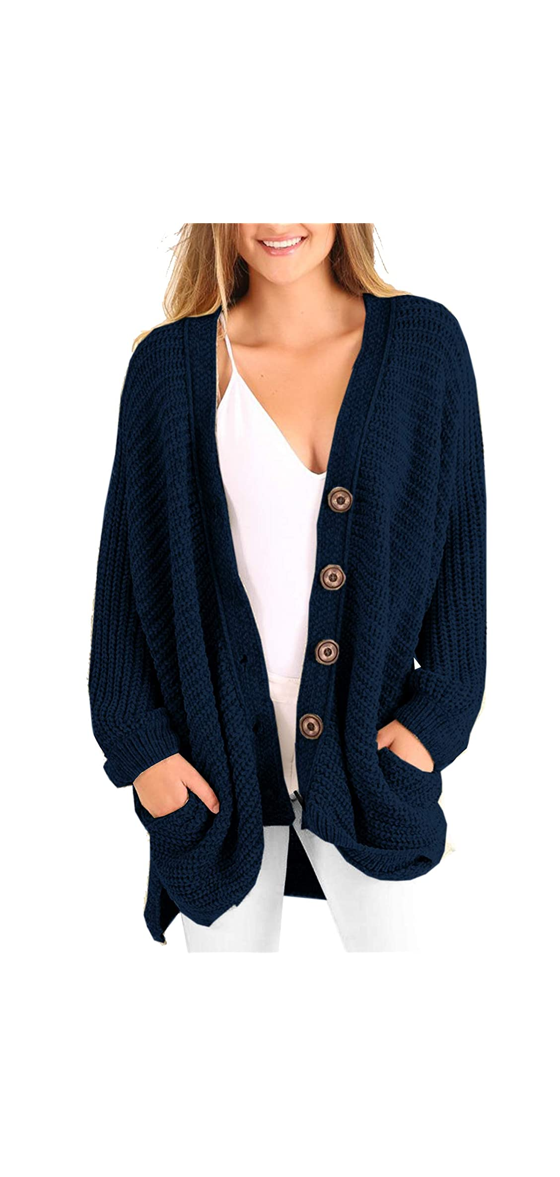 Womens Plus Size Cardigan Oversized Cable Knit Button Down Coats