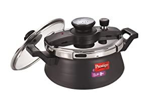 Prestige Clip On Hard Anodised Handi Pressure Cooker with Glass Lid, 5 Litres.