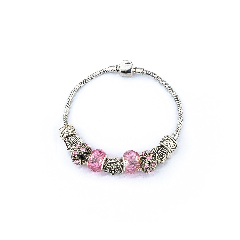 Silver Beads Sliver Plated Snake Chain Charm Strand Bracelet