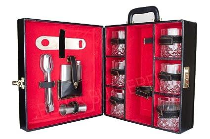 Bar Accessories Mega Bar Set Portable Leatherette Briefcase Bar