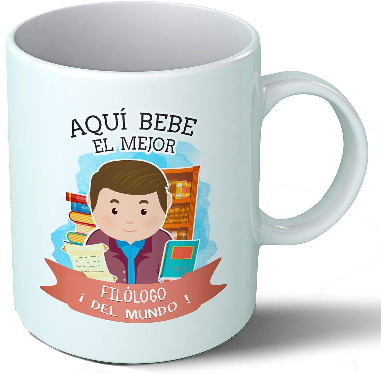 Planetacase Taza Desayuno Aquí Bebe el Mejor filologo del Mundo Regalo Original filologia Ceramica 330 mL: Amazon.es ...