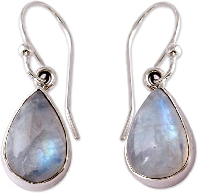 Bridal Earrings Moonstone Chandelier Earrings Briolette Teardrop Accents with Moonstone Clusters in 925 Sterling Bali Silver Ear Wire