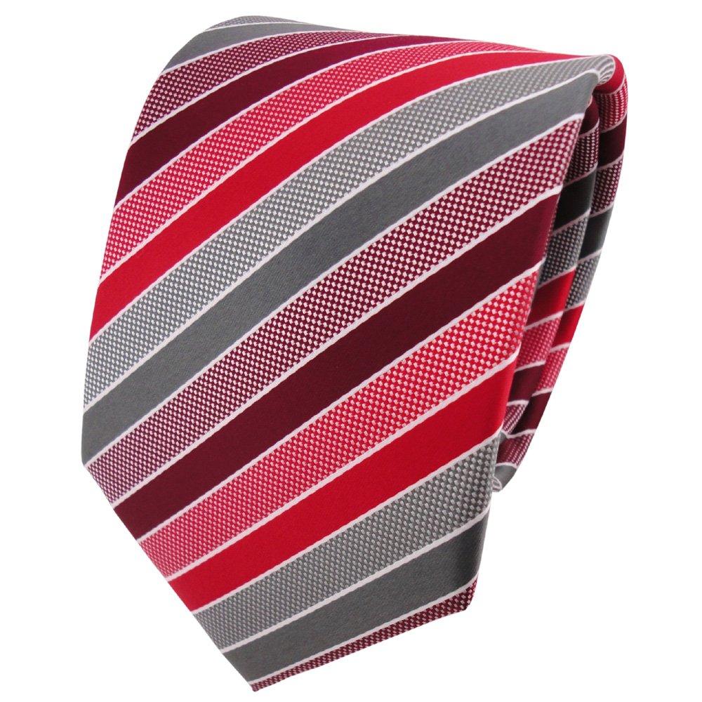 TigerTie - Corbata - rojo burdeos gris plata rayas: Amazon.es ...