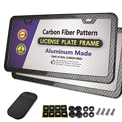 PUQIN-AUTO License Plate Frame Carbon Fiber Printed Pattern - Slim Aluminum Metal License Plate Covers for Front & Rear Bumper, Black License Plate Tag Holders (Carbon Fiber Style - 2 Holes): Automotive