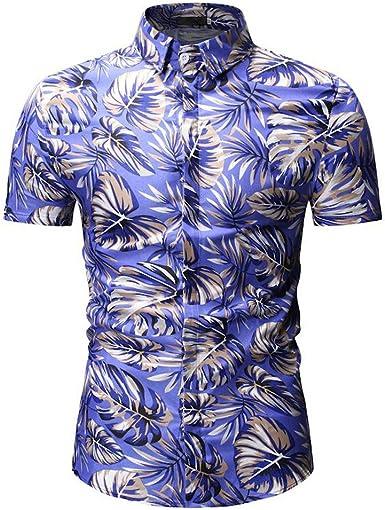 Moda Impreso Collar de pie tee tee Yvelands Hombres Casual Slim Fit Camisa de botón de Manga Corta Top Blusa Camisa de Trabajo: Amazon.es: Ropa y accesorios