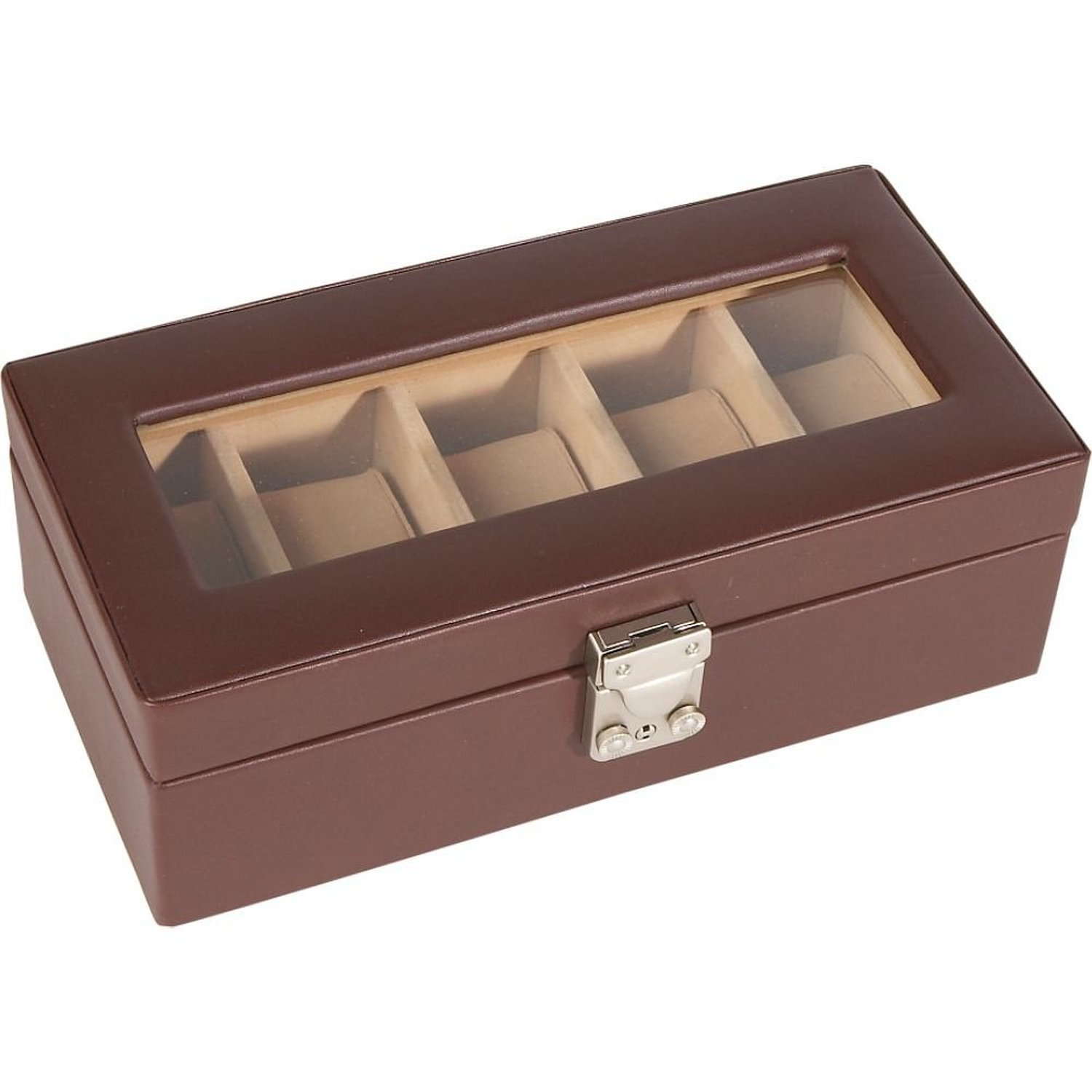 Deluxe 5 Watch Box (Coco) (9.5''H x 3.5''W x 4.75''D)
