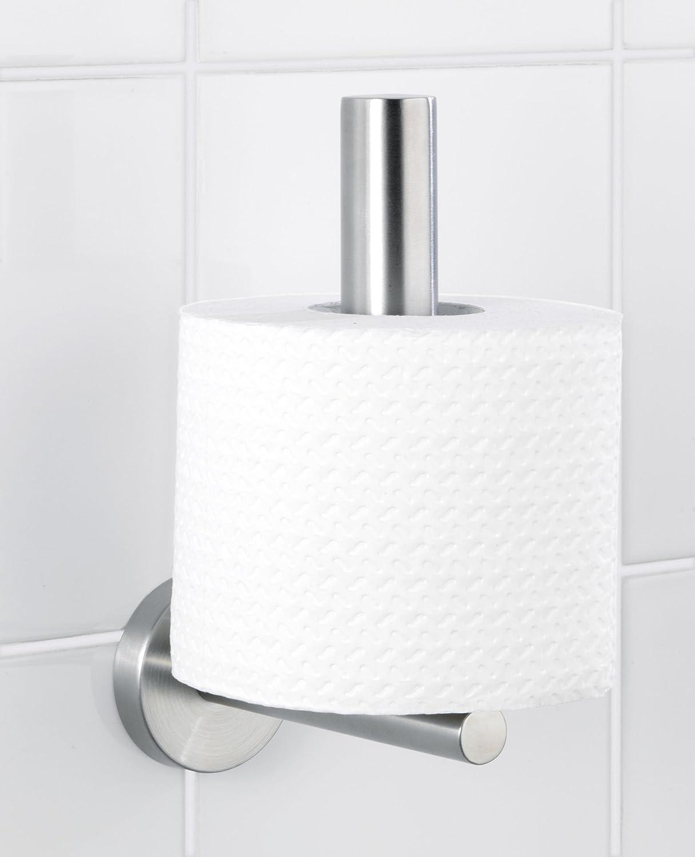 WC-Rollenhalter Matt 8 x 18 x 12.5 cm WENKO 19613100 Toilettenpapier-Ersatzrollenhalter Bosio Edelstahl rostfrei