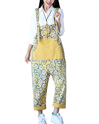 25a26b6c4d2af Aeneontrue Women s Casual Printed Jumpsuits Overalls Wide Leg Pants with  Pocket (Style10)