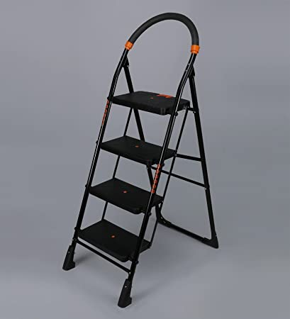 Flipzon Heavy Foldable Cameo 4 Steps Ladder with Wide Steps & Anti-Skid Shoes (Make in India) - Black