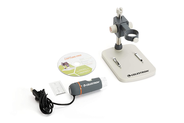 Celestron HDM Pro - Microscopio (5 Mp, USB, zoom hasta 200x) blanco y gris
