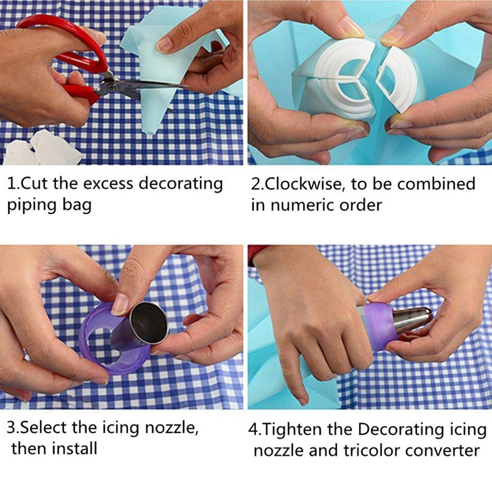 permet dappliquer 3/gla/çages de couleur diff/érente en m/ême temps id/éal pour la d/écoration de g/âteau Adaptateur triple pour poche /à douille