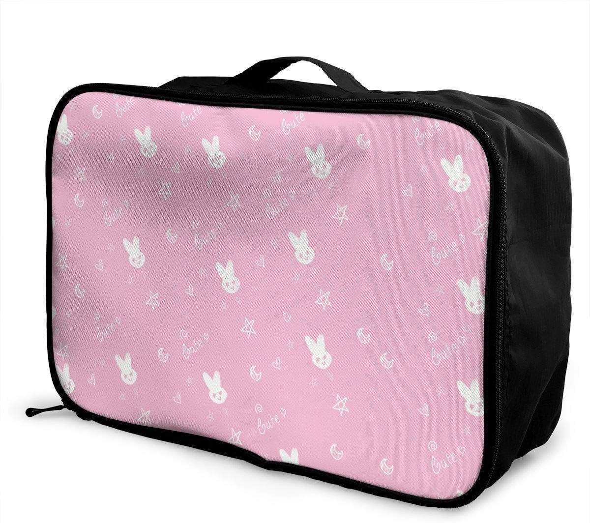 Cute Pink Baby Travel Carry-on Luggage Weekender Bag Overnight Tote Flight Duffel In Trolley Handle