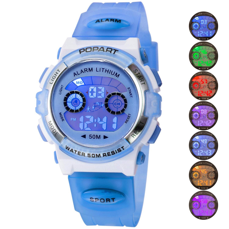 Kid Watch for Child Boy Girl LED Multi Function Sport Outdoor Digital Dress Waterproof Alarm Light Blue