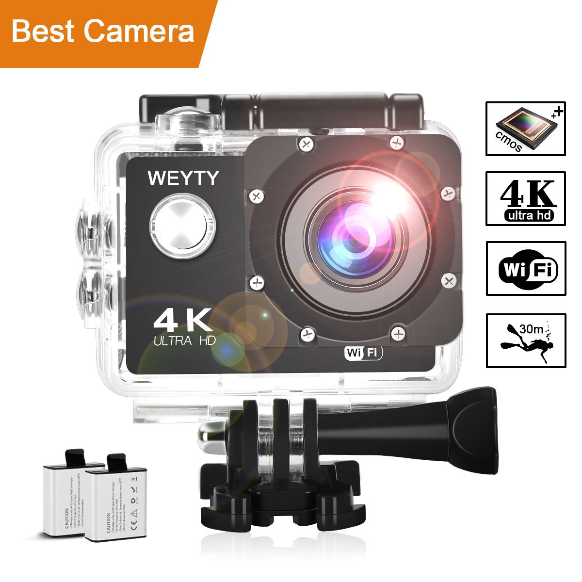 Action Camera WeyTy X6S 4K 30m Underwater Camera 16MP Wifi Sport Camera 170°Wide Angle Waterproof Camera With 2x1350 mAh Rechargeable Batteries And Full Accessories Compatible With GoPro by WeyTy