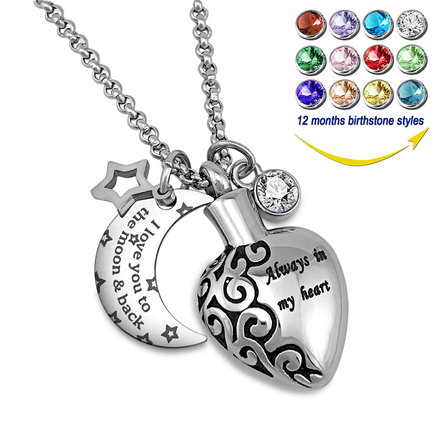 YOUFENG Urn Necklaces for Ashes Aways in My Heart I Love You to The Moon and Back Ashes Holder Pendant Necklace (April Birthstone URN Necklace)